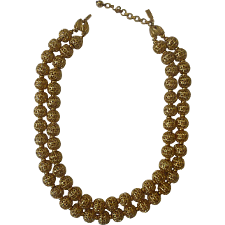 Vintage Golden Filigree Bead Necklace & Bracelet
