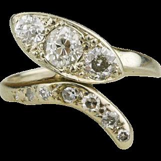 Art Deco 1.06 Carat Diamond Snake Ring in 14k White Gold