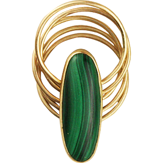 Solid 14k Gold Malachite Stacking Ring - 5 Thin Hinged Bands