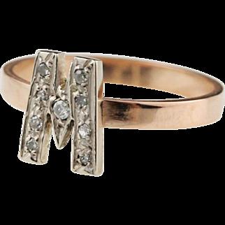 14k Gold M W Diamond Monogram Ring - Stacking Ring / Gold Ring / Rose Gold Ring