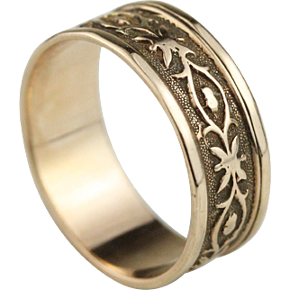 Wide 14k Rose Gold Patterned Victorian Cigar Wedding Band Ring