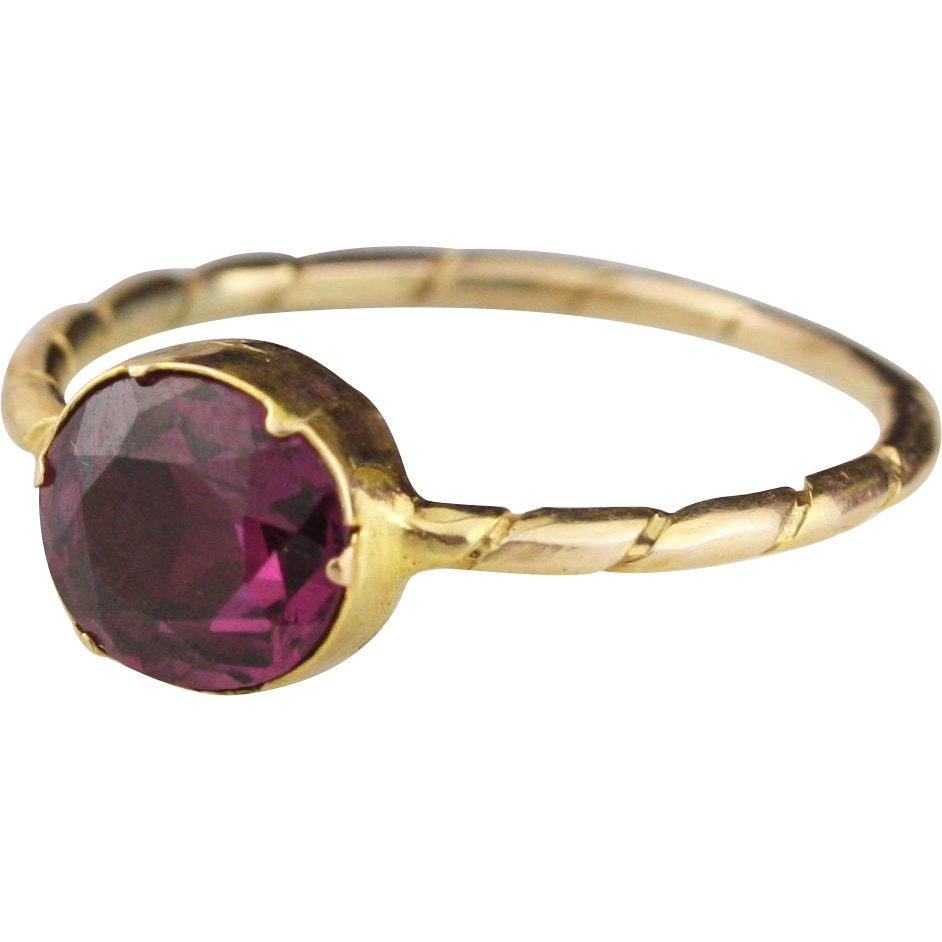 antique georgian garnet ring in 12k yellow gold sold on