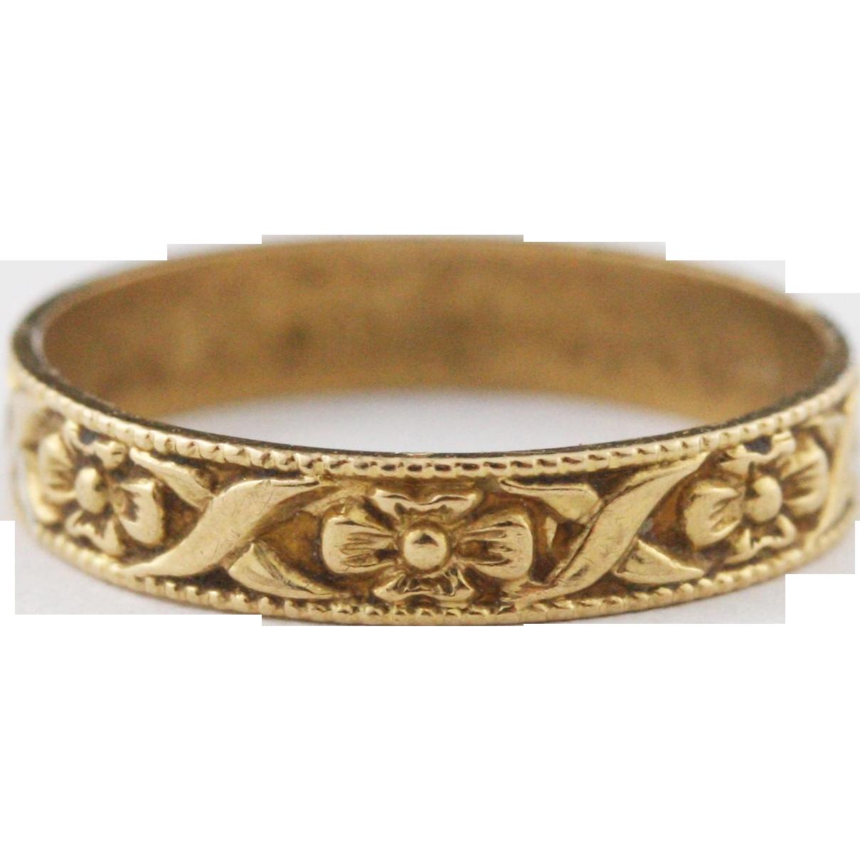 deco antique 10k gold baby ring engraved floral