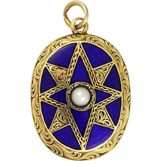 Victorian 14k Blue Enamel Guilloche Locket with Seed Pearl Star