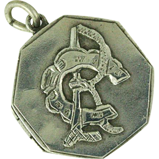 1876 Victorian Silver RC CR Locket - Equestrian Horseshoe Locket - Initial Monogram Signet - Horse Shoe Good Luck Charm