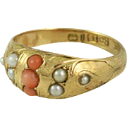 Victorian Antique Pearl and Coral Ring 15k Yellow Gold
