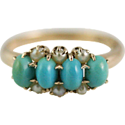 Victorian Turquoise and Seed Pearl Half Hoop Ring in 10k Yellow Gold
