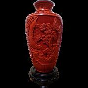 Vintage Cinnabar Chinese Vase Mid 20 c.
