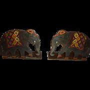 Bronze Elephant Bookends c. 1930 Art Deco Polychrome India Indopersian Decor