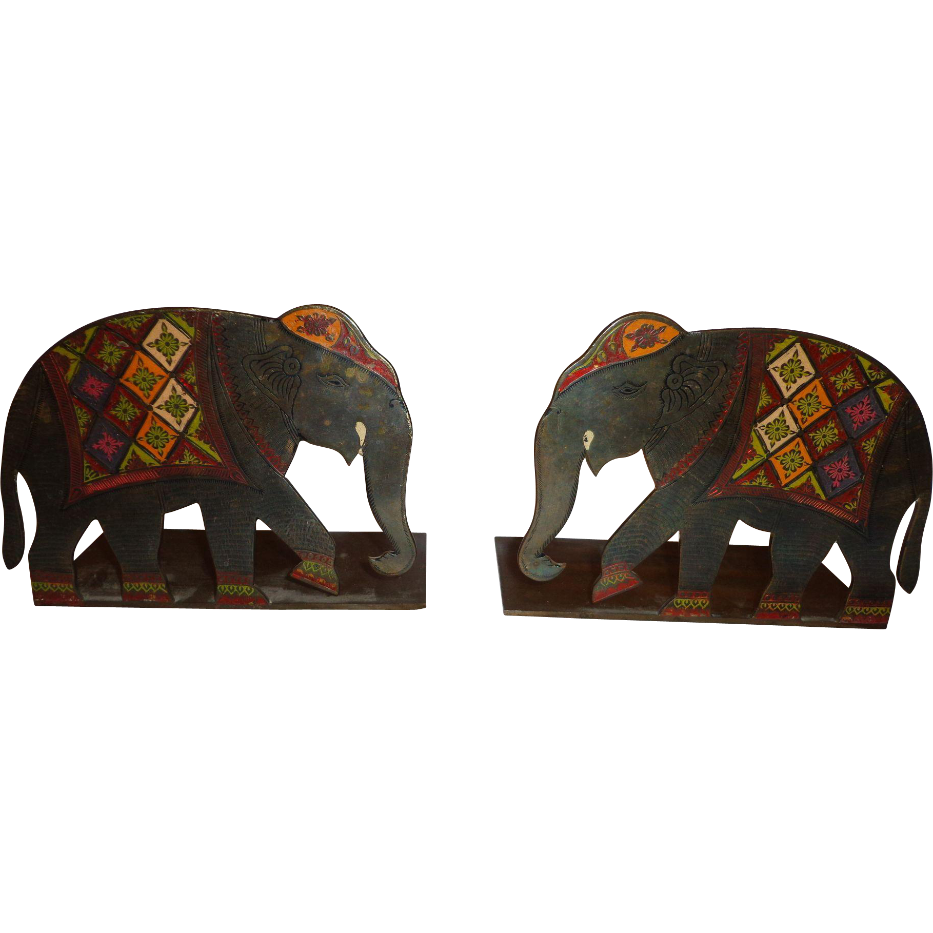 bronze elephant bookends c 1930 art deco polychrome india indopersian from. Black Bedroom Furniture Sets. Home Design Ideas