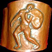 Antique Arts & Crafts Copper Cuff Bracelet Hercules Unisex Hand Hammered