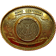 Cowboy Rodeo Belt Buckle Idaho Centennial with Morgan Silver Dollar Numbered