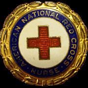 WWII Sterling Red Cross Nurse Pinback Pin Home Front Enamel