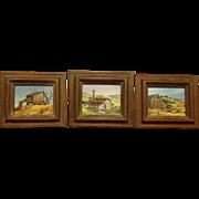 Suite of 3 California Artist Country Paintings by Robert McFarren Miniature Rural Scenes