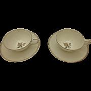 Vintage Set of 2 Noritake Margot Teacups and Saucers Fine China Rose Platinum Gilded Rim