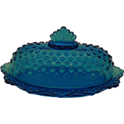 Rare 1960s Fenton Blue Hobnail Glass Covered Butter Dish