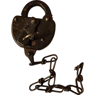 Original 1930s Switch Lock & Key from the NYNH&H RR New York New Haven & Hartford Railroad