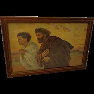 Eugene Burnand Print Apostle John and Peter framed at DT Broun Art Shop Salt Lake City Utah