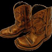 Darling Bronzed Little Boy Cowboy Boots 1960s Vintage Texas Steer Rockabilly Decor