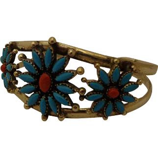 Beautiful Sterling Zuni Bracelet Petit Point Turquoise & Red Coral Sunflower