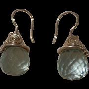 Gorgeous Vintage Sajen Earrings Sterling Silver & Aquamarine .925