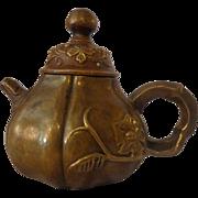 Antique Japanese Bronze Teapot Meiji Period Hallmarked