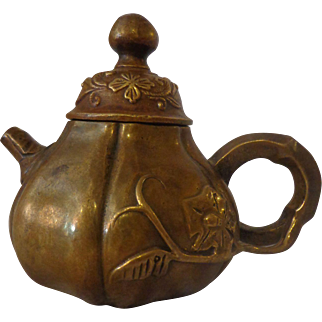 Antique Japanese Bronze Teapot Meiji Period Hallmarked