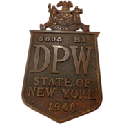 Vintage Bronze Plaque New York State Bridge 1948 Empire  NY