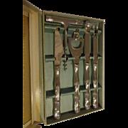 Vintage 1960s 5 Piece Bar Ware Set Bamboo Pattern Retro Barware