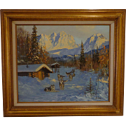 Large Original Oil Painting by Ellen Henne Goodale Alaska Sled Dogs Landscape Western Art