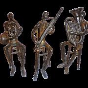 Vintage Bronze Musical Trio Retro Modern Art Orchestra Minimalist Sculpture