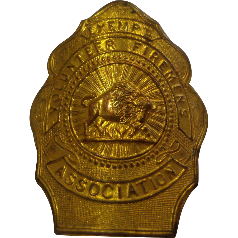 Antique Buffalo Fireman Exempt Badge New York NY From Threedaughtersantiques