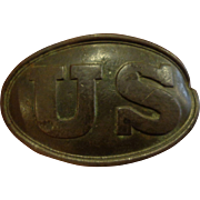 Antique US Army Civil War Belt Buckle with Battle Damage