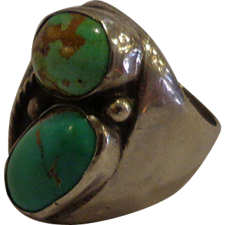 Fabulous Heavy Men's Sterling Silver Navajo Turquoise Ring Old Pawn