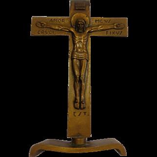 Rare Late Art Deco Bronze Bedside Crucifix Continental Modern Catholic Christian