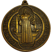 Large Rare St. Benedict's Bronze Late Victorian Clergy Medallion Catholic Medal Christian Pendant