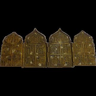 Antique Russian Orthodox 19th C. Bronze Travelers Icon Quadriptych Christian