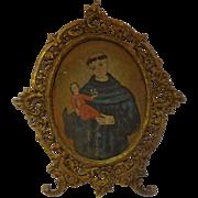Antique 19th C. Spanish Colonial Retablo on Tin St. Anthony Holding the Child Jesus