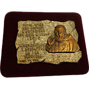Beautiful Padre Pio Religious Plaque c. 1960 Italy Catholic Christian