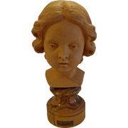 Fabulous Italian Terracotta Bust Sculpted by Antonio Malecore c. 1970s Italy Amorini Putti