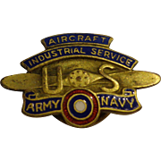 Numbered WWI Aircraft Industrial Service Worker Lapel Pin by Whitehead & Hoag Enamel US Army Navy