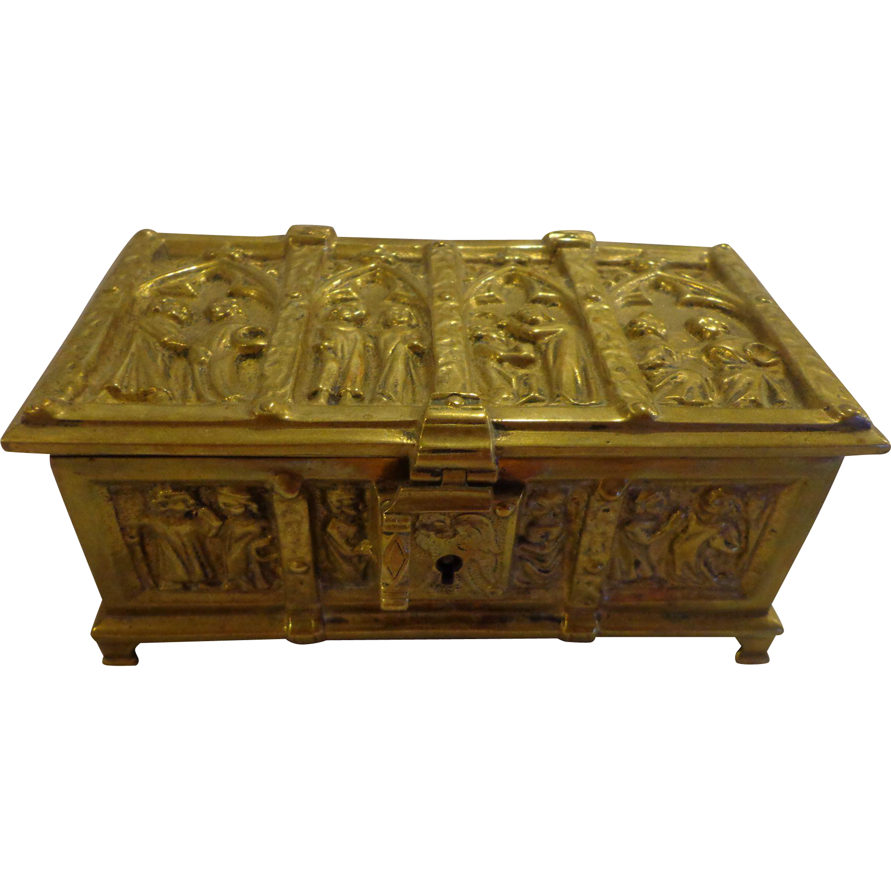 Antique french chasse victorian relic box casket bronze medieval antique french chasse victorian relic box casket bronze medieval motif reliquary religious geotapseo Images
