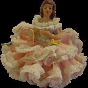 Vintage Dresden Pink Lady Figurine Miniature German Porcelain