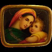 Antique Victorian Hand Painted Porcelain Brooch Raphael's Madonna Della Italian