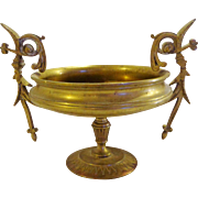 Victorian Renaissance Revival Brass / Bronze Tazza Calling Card Receiver Masculine Hercules Medallion Cartouche