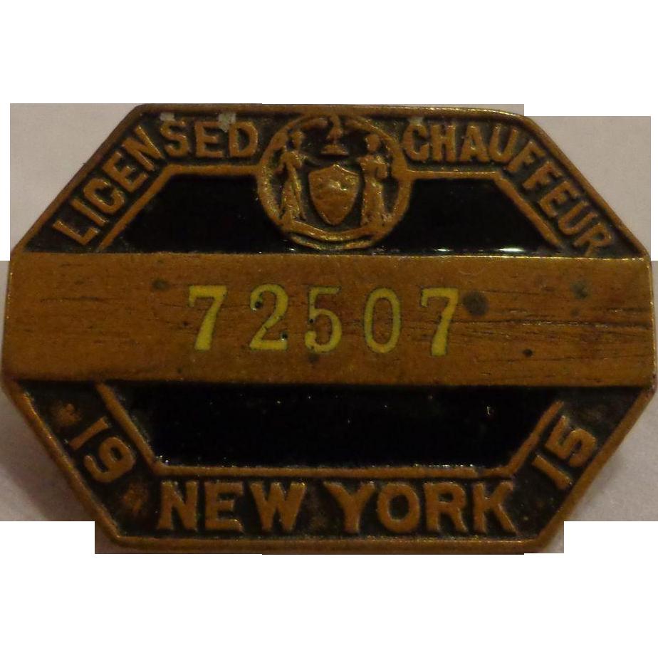 Antique New York State Chauffeur Badge 1915 Enamel Screwback Pin From Threeda