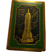 Art Deco Empire State Building Souvenir Brass & Enamel Matchbox Holder Vintage