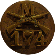 Pre WWII 174th Regiment out of Buffalo New York Collar Disk Military Screwback