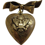 WWII Puffy Heart Sterling Sweetheart Pin Pinback US Army or Air Corps Homefront