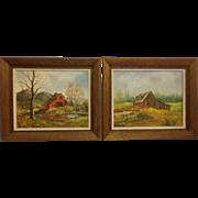 Pair of Minnie Wonsmos Oil Original Paintings Farmhouse and Barn Country Decor